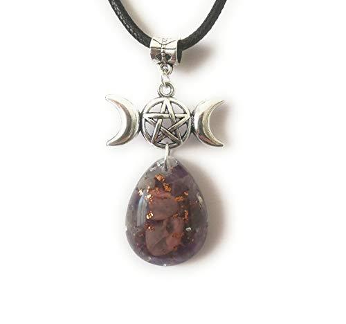 Colgante orgonita Amatista Rodonita protección luna Triple Diosa Wicca pentáculo collar unisex amuleto Orgone