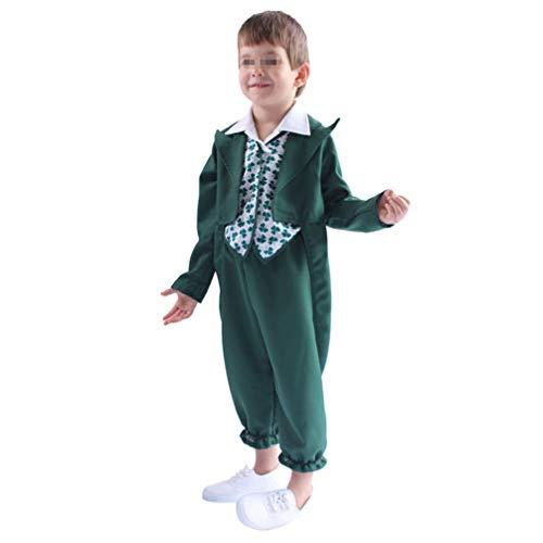 PRETYZOOM Disfraz de Duende para Niño Traje de Día de San Patricio Camisa con Patrón de Trébol para Cosplay de Rendimiento para Niños Pequeños (Talla M para Edades de 5 a 7)