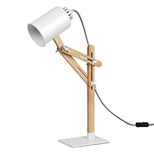 Tomons Lámpara de Escritorio columpio del brazo,lámpara de mesa ajustable Lámpara de la Cabecera de Noche, Lámpara de Madera de Diseño Clásico Con Brazo Giratorio Bombilla E27 LED - Blanco