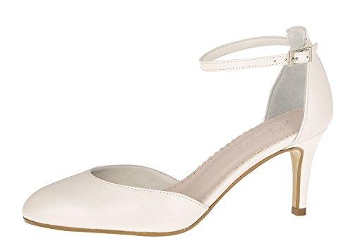 Fiarucci Zapatos de novia Fannie – Perla crema piel con correa cómoda...