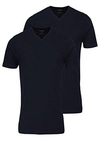 OLYMP Herren T-Shirt Doppelpack V-Ausschnitt- Schwarz, L