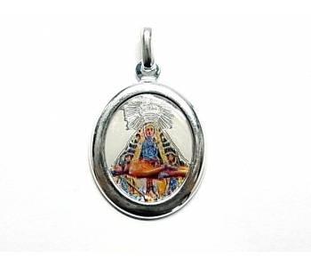 Minoplata Medalla Virgen de Las Angustias esmaltada en Plata de Ley un diseño de Colgante Especial Ideal para Regalar