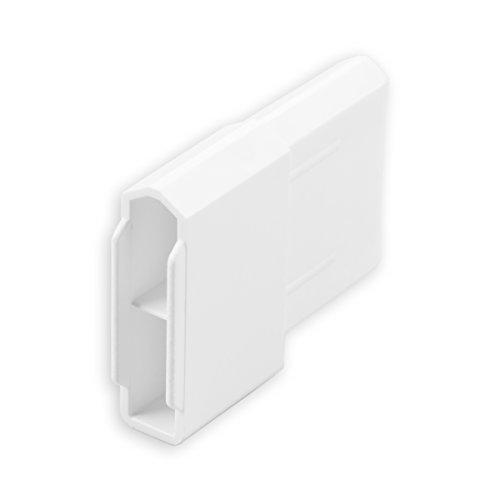 DIWARO® Endstabgleiter | Größe 28mm x 12mm | Farbe braun,grau oder weiß | Material Kunststoff | für Endleiste, Endschiene, Winkelendschiene | Rolladenpanzer, Jalousie, Rollo (weiß)