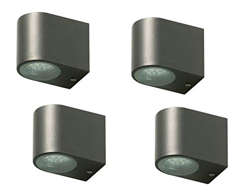 4er Set Ranex LED-Außenwandleuchte Bastia anthrazit, Aluminium downlight-Bündelung, IP44, 5000.322-4
