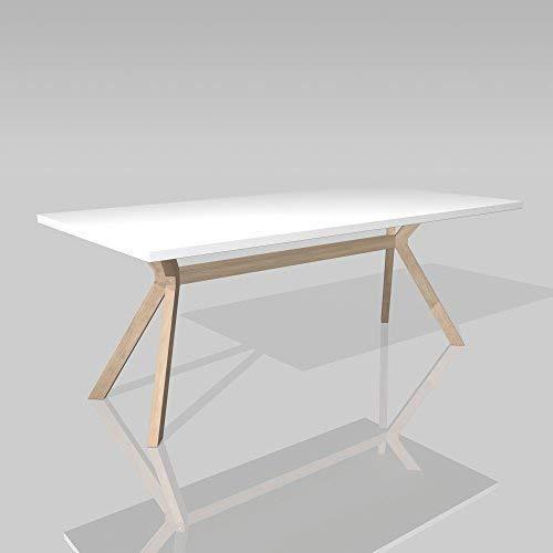area lounge Marca Tavolo da conferenza KOZANI bianco Gambe del tavolo Legno massello natura 200x100cm13560
