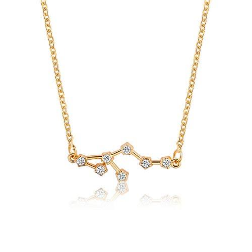 ZYJ 12 Sternbild Sternzeichen Halsreif Halskette für Frauen Schmuck Waage Widder Anhänger Horoskop Astrologie Halskette Frauen,7 Leo