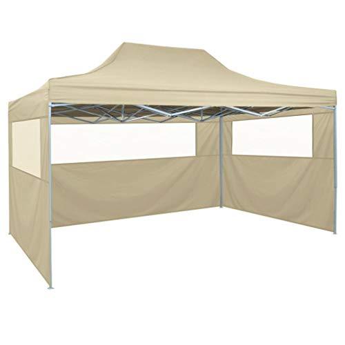 Festnight Waterproof Gazebo Tent Pop-Up Marquee 4 Side Walls for Outdoor, Garden, Wedding Party Cream white (4.5 x 3 x 3.15 m)