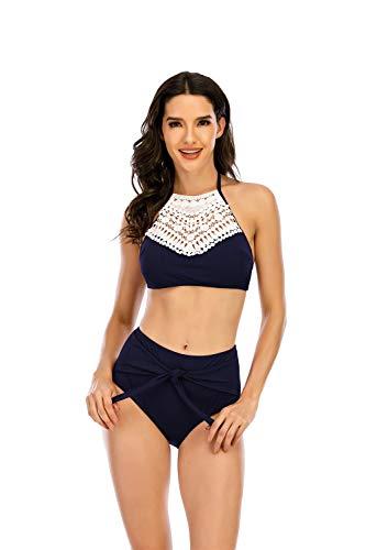 Conjunto de Bikini Mujer de Cintura Alta Traje de Baño de Dos Piezas Tirantes Tankini Bohemio Halter Bikini de Bañadores para Mujer con Top de Cuello Halter y Bragas de Talle Alto,Navy Blue,M