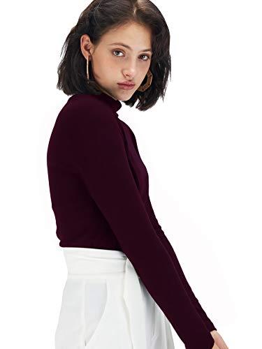 Fabricorn Stylish Wine Long Sleeve Turtle Neck Cotton Tshirt for Women (Wine, Large)