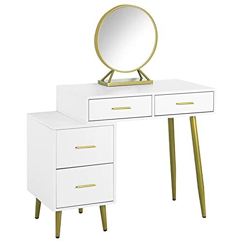 EUGAD Schminktisch mit Spiegel Frisiertisch Nachttisch mit 4 Schubladen Große Tischplatte 98x45cm, Modern Kosmetiktisch für Schlafzimmer, Weiß+Golden 0028SZT