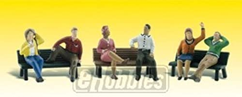N Scenic Accents People on Benches (6 Figures & 3 Benches) by boisland Scenics