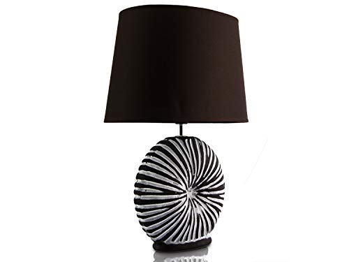 Tischlampe Tischleuchte Nachttischlampe Schreibtischlampe Lampe Keramik Muschel-Optik Braun 5031
