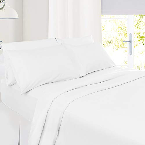 5 Piece Split King Size Sheets – White Bed Sheet Set - Hotel Bed Sheets - Soft Microfiber Sheets - Easy Fit 8' to 14' Deep Pocket Fitted Sheets - 5 PC Sheets Split King Sheets - Solid White