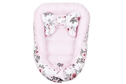 Babynest Babynestchen Kuschelnest für Babys Säuglinge 90 x 64 cm Reisebett Kokon inkl. Kopfkissen Schmetterling Traumfänger rosa