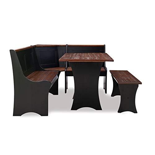 Linon Jackie Solid Wood 3 Piece Conversation Indoor Kitchen Corner Breakfast Dining Nook Set in Black