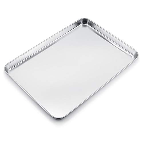WEZVIX Large Baking Sheet Stainless Steel Cookie Sheet Half Sheet Oven Tray Baking Pan Rectangle Size:19.6 x 13.5 x 1.2 inches, Rust Free & Less Stick, Easy Clean & Dishwasher Safe