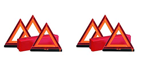 Deflecto Early Warning Road Safety Reflective Triangle Kit, Folding Design, Fluorescent Orange, Plastic, with Storage Box (73-0711-00) (2 X Pack of 3)