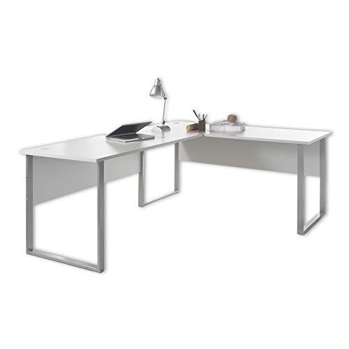 Stella Trading OFFICE LUX Eckschreibtisch inkl. Kabeldurchführung, grau - Bürotisch Computertisch mit großer Arbeitsfläche - Modernes Büromöbel Komplettset - 223/170 x 77 x 73 cm (B/H/T)