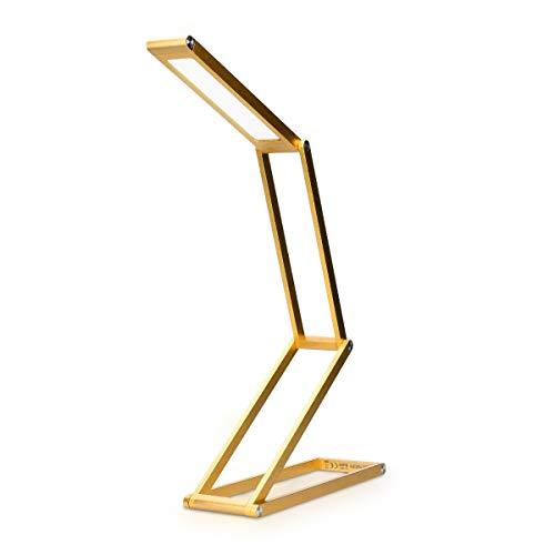 kwmobile LED Aluminium Tischlampe faltbar - Akku Nachttisch Leselampe dimmbar Micro USB Ladekabel - Akku Schreibtischlampe Faltlampe in Gold