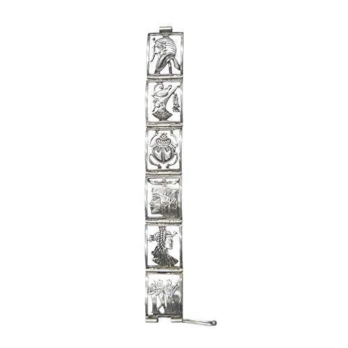 Pulsera egipcia de Plata con Motivos del Antiguo Egipto como Cleopatra, Tut ANK Amón, Akentaón, El Escarabajo Sagrado, Amón Ra y Las músicas