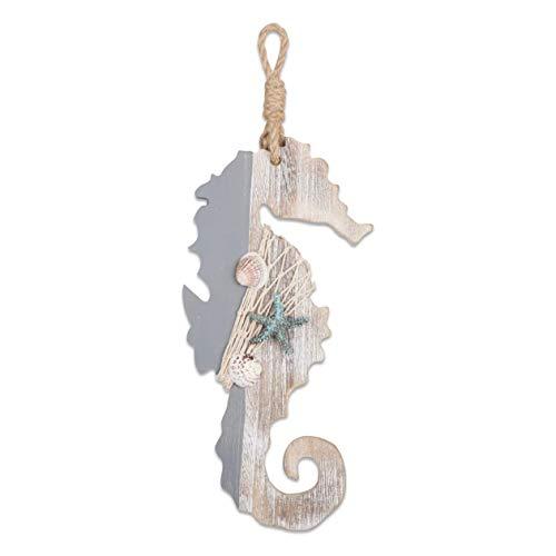Kuinayouyi - Cavalluccio marino in legno con stelle marine e conchiglie per decorazione nautica, decorazione da parete a tema spiaggia