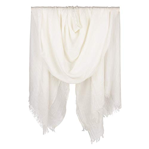 Iristide Womens Long Scarf in Solid Color, Light Weight Large, White, Size Large
