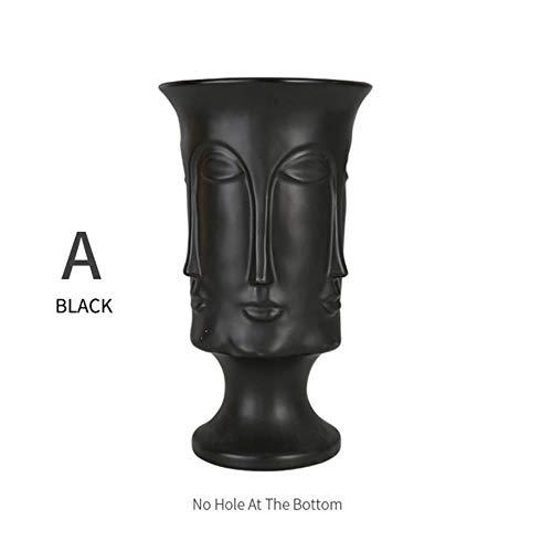 SHUANGBING Skulptur Dekoration Statue Rux Workshop Nordic Face Shape Designs Beste Marmor Keramik Vase Blumentopf Gold Home Decoration Zubehör Werkzeuge, A-Schwarz