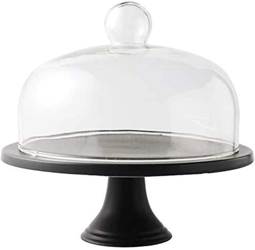 DUDDP Campana de Vidrio Glass Server-W-Dong Vintage Cake Pan, Bandeja de cerámica Cúpula de Vidrio Restaurante Cubierta de Polvo Postre Bread Dome Hotel West Restaurante Sirviendo Soporte Pasteles de