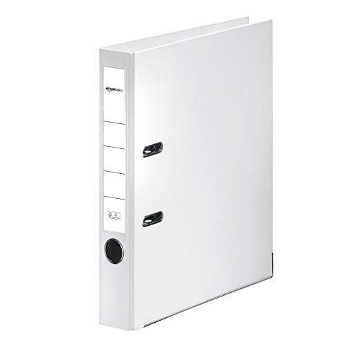 AmazonBasics – Aktenordner, Polypropylen-Kaschierung, Einschubfach am Rücken, FSC-zertifiziert, Rücken 50mm breit, Weiß