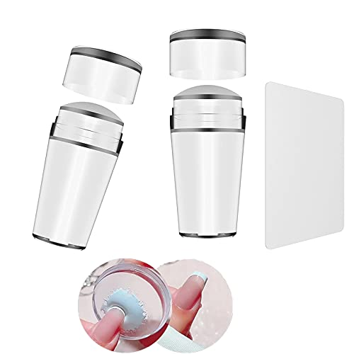 Nail Stamper French Clear Jelly Nail Art Stamper Extra 2 Clear Silicone Nail Stamper+1 Manicure Plate for Fast French Nails Tip (2pcs Nail Art Stamper)