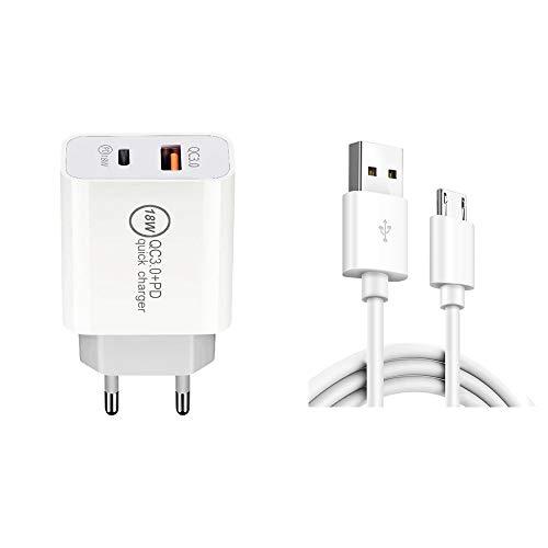 Micro USB Cargador De Carga Rápida Cable De Datos, La UE Plug18W PD + QC 3.0 Dual USB De Carga Rápida Universal, Liqingshangmao