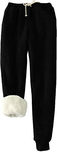 Trieskull Frauen Warme Sherpa Gefüttert Jogginghose Kordelzug Sportlich Jogger Fleece Hosen mit Taschen (schwarz,M)