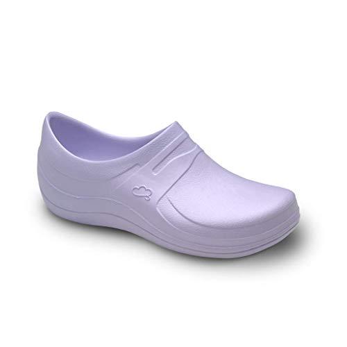 Feliz Caminar - Zapatos Sanitarios Nebula/con Correa Antideslizantes y Cómodos/Anatómicos/Cocina, Sanidad, Hostelería (Malva 39)