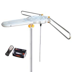 InstallerParts Amplified Outdoor HDTV Antenna - 150 Miles Long Range - Motorized 360 Degree Rotation - Wireless Remote Control - Low Assembly