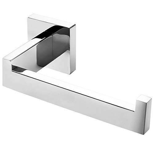 HITSLAM Toilettenpapierhalter, WC Edelstahl Klopapierhalter für Küche und Badzimmer Toilette Toilettenpapier (Chrom) (Quadrat)