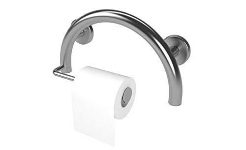 Lifeline Toilet Paper Holder Grab Bar – Bathroom Mobility Aid | Semi-Sphere Design | Brushed Nickel