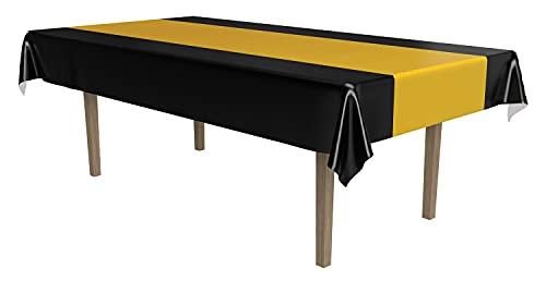 """Beistle 57940-bkgd negro y dorado mantel, 54cm, de 108"""""""