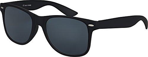 Balinco Hochwertige gummierte Nerd Sonnenbrille Rubber im Retro Stil Vintage Unisex Brille mit Federscharnier Blau und Rot verspiegelte Gläser (Schwarz Smoke)