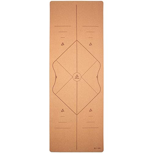 Secoroco Yogamatte Kork 3mm - rutschfest - Comfort Line Alignment - 66cm breit mit Hilfslinien - Vegan, nachhaltig und recycelbar - Natürliche Yogamatte aus Kork & Kautschuk inklusive Yogatasche