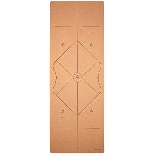 Secoroco Yogistar - Esterilla de yoga (corcho, 3 mm, antideslizante, 66 cm de ancho, con líneas auxiliares, vegana, sostenible y reciclable, incluye bolsa de yoga)