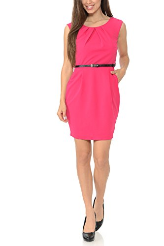 Auliné Collection Women's Color Office Workwear Sleeveless Sheath Dress