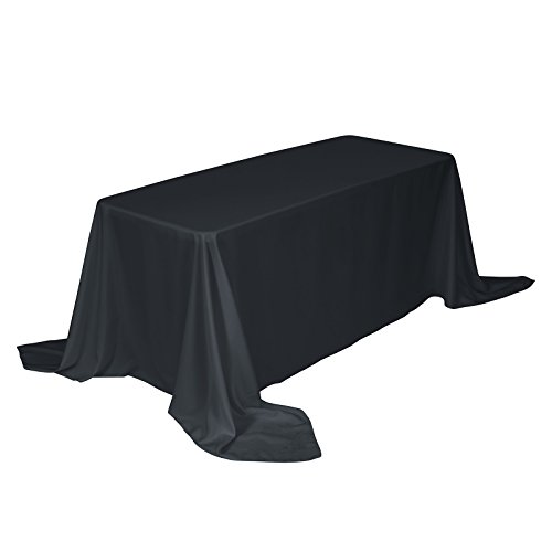 VEEYOO 90 x 132 inch Rectangular Solid Polyester Tablecloth for Wedding Restaurant Party Buffet Table, Dark Gray