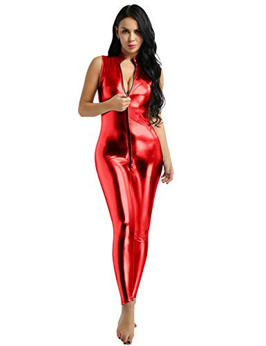 CHICTRY Damen Einteiler Wetlook Kunstleder Bodysuit Latex Overall Jumpsuit Ärmellos Trikot Doppel Reißverschluss Ouvert-Body Clubwear Rot XX-Large