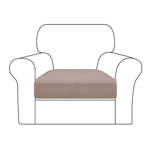 Granbest Super Stretch Samt Sofakissenbezüge, verdickte Sofa-Sitzbezüge, Couch-Kissenbezug für 1-Sitzer-Sofa mit Gummiband Mikrofaserstoff (1-Sitzer, taupe)
