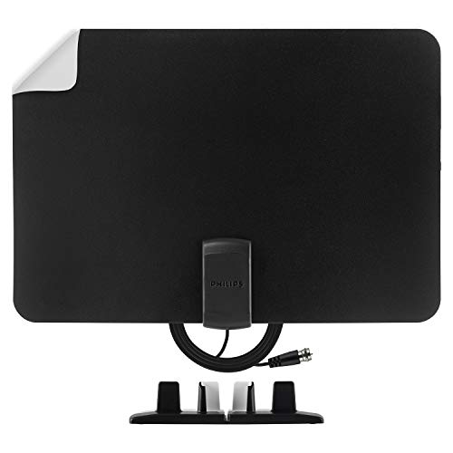 Philips Indoor Switch TV Antenna, Reversible Black White Finish, Perfect Home Decor, Long Range Digital HDTV Antenna, Smart TV Compatible, 4K 1080P VHF UHF, 10ft. Coaxial Cable Included, SDV2226N/27