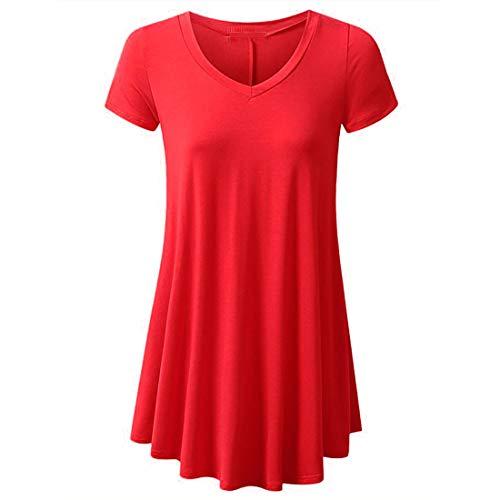 Mujeres Casual Cuello en V Túnica Plisada Tops Camisas Blusa Señoras Verano Color sólido Manga Corta Camisa Holgada Informal Larga Manga Corta Plisada Casual Camisas de Mujer Blusa Túnica con Botones