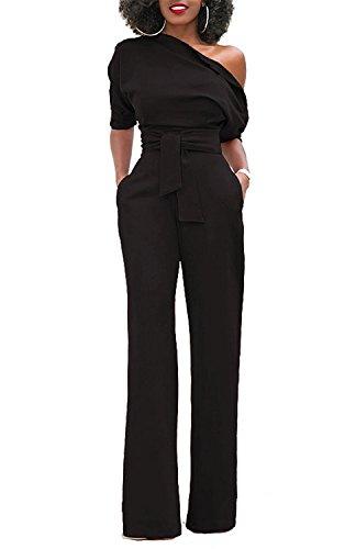 Minetom Damen Frauen Sexy One-Shoulder Feste Overalls Breites Bein Lange Strampler Hose mit Gürtel Elegant Hohe Taille Jumpsuit Rompers Schwarz DE 42