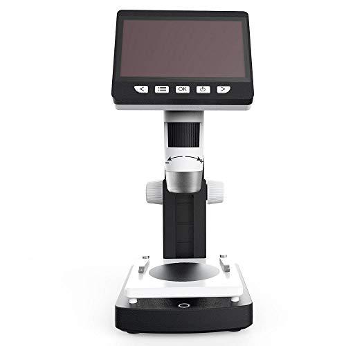 Yamyannie Digital-Mikroskop iPhone 1000X 4,3 Zoll HD 1080P Portable Desktop LCD-Digital-Mikroskop Auflösung Objekttisch Höhenverstellbarer (Farbe : Schwarz, Größe : Einheitsgröße)