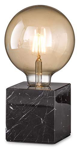 loxomo - Marmor-Würfel Tischleuchte, 9 x 9 x 9 cm, Marmor Tischlampe mit E27 Fassung, bis max.60W, Dekoleuchte für Edison retro industrial Glühbirnen, IP20, Schwarz marmoriert