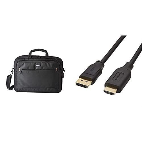 Amazon Basics- kompakte Laptoptasche, Umhängetasche/Tragetasche mit Taschen, für Laptops bis zu 15,6 Zoll (40 cm), Schwarz, 1 Stück & Verbindungskabel, DisplayPort auf HDMI, 1,8 m
